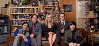 "The Big Bang Theory - Main characters in The Big Bang Theory. First row from left: Rajesh Koothrappali, Leonard Hofstadter, Penny<!-- Do not add ""Hofstadter"""". Leave as the common name that is used throughout the series, which is just ""Penny"". -->, Sheldon Cooper, and Howard Wolowitz, second row from left: Bernadette Rostenkowski-Wolowitz and Amy Farrah Fowler"