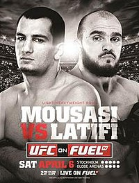 A poster or logo for UFC on Fuel TV: Mousasi vs. Latifi.