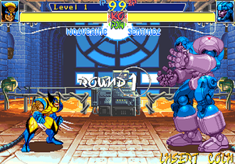 Sentinel (comics) - Sentinel (right) fights Wolverine in the 1994's arcade game X-Men: Children of the Atom.
