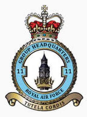 No. 11 Group RAF - No. 11 Group badge depicting the clock tower of the Palace of Westminster surrounded by the astral crown