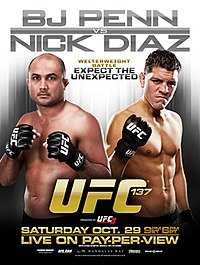 A poster or logo for UFC 137: Penn vs. Diaz.