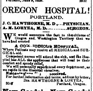 """Oregon Hospital for the Insane - Ad announcing the establishment of Hawthorne and Loryea's """"Oregon Hospital"""" in The Oregonian, issue of Sept. 3, 1859."""