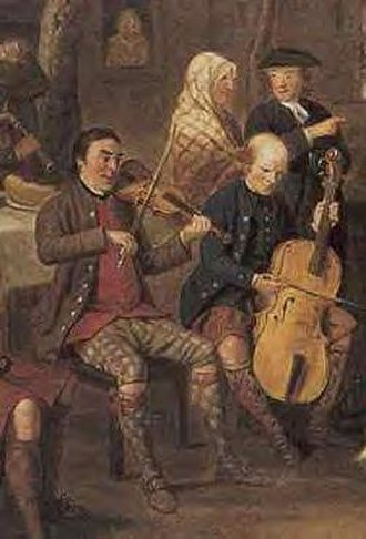 Music of Scotland - A detail from The Highland Wedding by David Allan, 1780