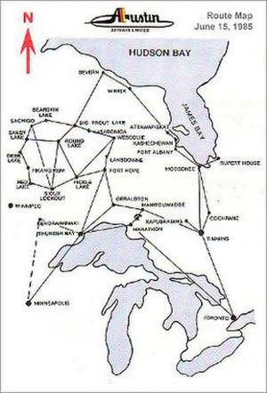 Austin Airways - Austin Airways 1985 Route Map