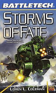 BattleMechs in combat on the cover of Storms of Fate by Loren L. Coleman. Art by Fred Gambino.