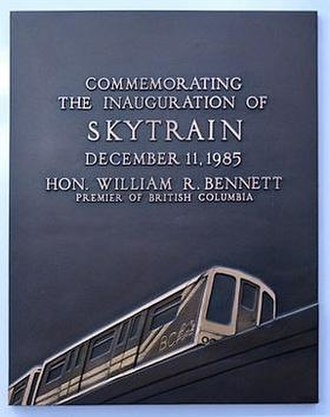SkyTrain (Vancouver) - A plaque commemorating the inauguration of the SkyTrain