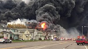 2016 Bethlehem Steel fire - View of fire from NYS Route 5