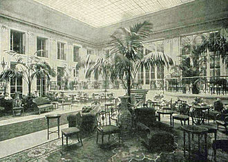 """Carlton Hotel, London - The Palm Court of the Carlton, 1899, captioned in The Illustrated London News as """"A Fashionable Resort of Today"""""""