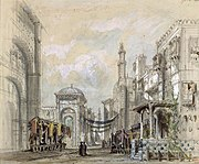 Hugues Martin's design for the Bazaar scene from Le Corsaire, Paris, 1856