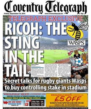 Coventry Telegraph - Image: Coventry Telegraph front page