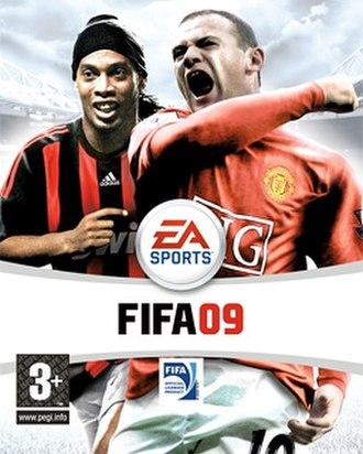FIFA 09 - The UK cover featuring Ronaldinho and Wayne Rooney