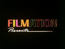 """FILMATION"" written in several colors and ""Presents"" written in white on a black background"