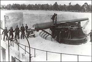 Board of Fortifications - 10-inch disappearing gun at Battery Granger, Fort Hancock, New Jersey