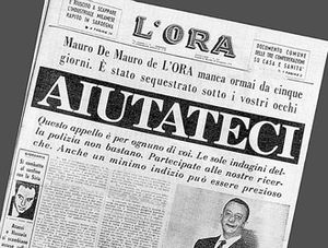 Mauro De Mauro - Front page of L'Ora five days after the disappearance of De Mauro begging for help to locate him