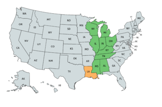 Grantland Rice Bowl - Mideast regional states of the College Division are shown in green; Louisiana was added in 1967.