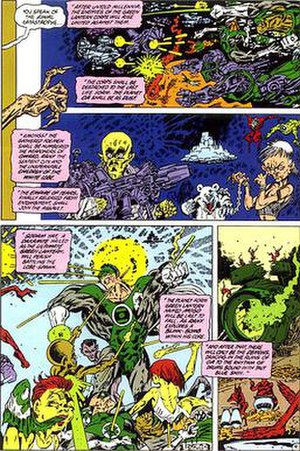 "Sinestro Corps War - A page from the 1986 Alan Moore/Kevin O'Neill story Tygers depicting the fall of the Green Lantern Corps. Elements from the story were incorporated into ""Sinestro Corps War""."