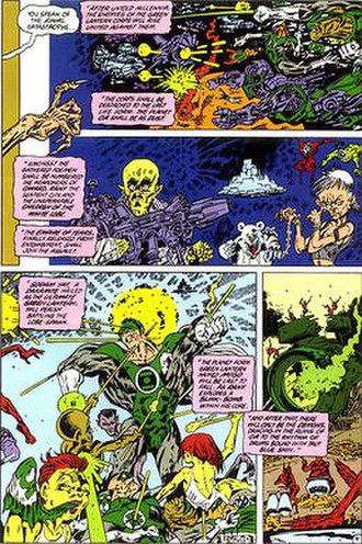 """Sinestro Corps War - A page from the 1986 Alan Moore/Kevin O'Neill story Tygers depicting the fall of the Green Lantern Corps. Elements from the story were incorporated into """"Sinestro Corps War""""."""