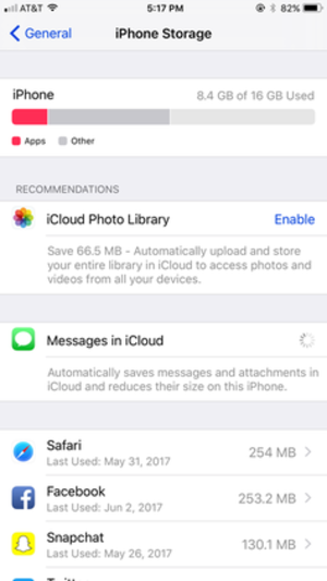 IOS 11 - Storage settings of iOS 11 on an iPhone 6S Plus, showing personalized recommendations