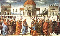 Traditional painting by Pietro Perugino depict...