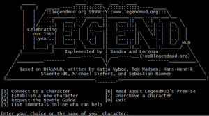 LegendMUD - Image: Legend MUD login screenshot