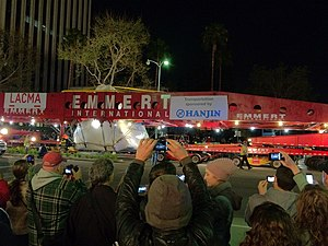 Levitated Mass - Levitated Mass arrives at LACMA on the morning of March 10, 2012.