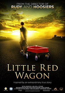 A young boy tows a little red wagon under a sky with bright light at the bottom and dark clouds as the top. Text at the bottom of the poster reveals the title, production credits and rating.