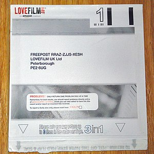 LoveFilm - Example of a Lovefilm envelope. The discs are returned to Lovefilm in the same envelopes in which they are sent to customers.