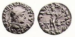 "Lysias Anicetus - Coin of king Lysias (r. c. 120–110 BCE). Obv. King Lysias in armour. Greek legend BASILEOS ANIKETOU LYSIOU ""Of Invincible King Lysias"". Rev. Nude Herakles standing facing, crowning himself, holding club, lion's skin, and palm (variation of Demetrius I type. Monograms. Kharoshti legend, translation of the Greek."