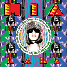 "The head and shoulders of a woman wearing sunglasses and a fur hat, enclosed in a circle around which the words ""Fight On!"" are repeatedly written. Surrounding this are four smaller versions of the same image in negative, various brightly coloured geometric shapes, and the words MIA and KALA in capital letters"