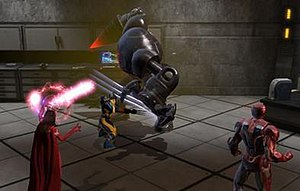 Marvel Heroes (video game) - Marvel Heroes allows players to control iconic Marvel Comics heroes. Here Iron Man, Scarlet Witch and Wolverine battle an enemy robot.