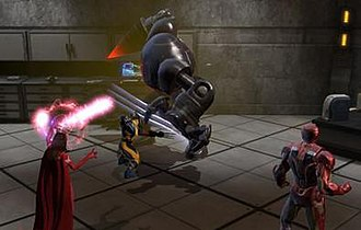 Marvel Heroes (video game) - Marvel Heroes allowed players to control iconic Marvel Comics heroes. Here Iron Man, Scarlet Witch and Wolverine battle an enemy robot.