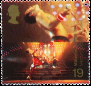 Millennium stamp - 1999; Freddie Mercury (with Queen bandmate Roger Taylor in background)