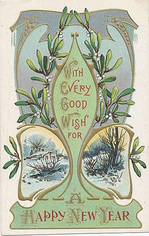 Viscum album - Mistletoe postcard, circa 1900