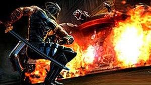 "Ninja Gaiden 3 - A screenshot of Ryu fighting a ""Steel Spider"" boss"