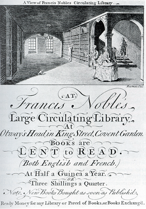 Augustan prose - An engraved ticket for Francis Noble's circulating library in London from some time after mid-century.