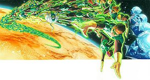 Oa - Oa, with the Guardians of the Universe and the Green Lantern Corps.  Art by Alex Ross.