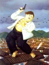 Artist Fernando Botero, a native of Antioquia, the same region as Escobar, portrayed Pablo Escobar's death in one of his paintings about the violence in Colombia.