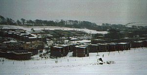 East Slope - Photo of student housing, taken in the 1990/91 academic year. Park Village is in the foreground; East Slope is the array of horizontally-aligned split-level flats in the distance, in the upper centre of the photograph.