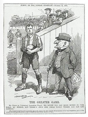 "1914–15 in English football - The magazine Punch was critical of the decision to allow competitive football to continue after the outbreak of war.  Mr Punch is depicted saying to the footballer ""No doubt you can make money in this field, my friend, but there's only one field today where you can get honour""."