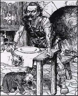"Edwardian era - ""Wild Fare"". Cartoonist John Bernard Partridge depicts Lloyd George as a giant with a cudgel labelled ""Budget"" in reference to his People's Budget; Asquith cowers beneath the table. Punch 28 April 1909"