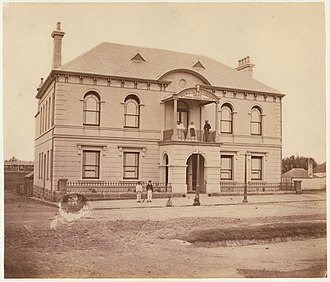 Municipality of Redfern - Redfern Town Hall, c. 1871, Mayor George Renwick is pictured at right on the balcony.