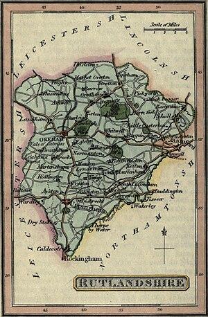 History of Rutland - A map of Rutland from Darton's New miniature atlas (1820)