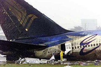 Singapore Airlines Flight 006 - SQ006 9V-SPK; the broken off tail section of the aircraft.