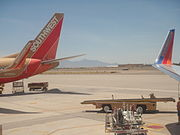 The original blended winglets of Southwest Airlines meet the new, blue variant at Tucson International Airport.