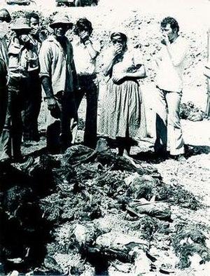 Maratha, Santalaris and Aloda massacre - Dead bodies of Turkish Cypriot civilians at Sandallar (Santalaris).