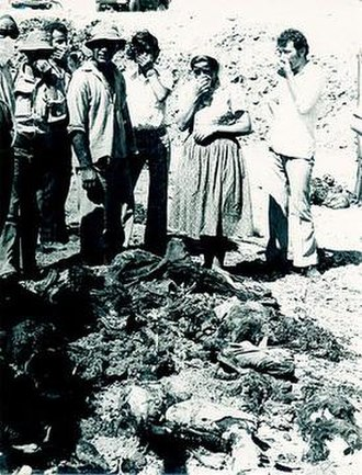 Maratha, Santalaris and Aloda massacre - Dead bodies of Turkish Cypriot civilians at Sandallar (Santalaris).