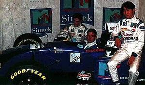 Simtek S951 - Simtek's pre-season launch. From left to right: Domenico Schiattarella, Jos Verstappen and Hideki Noda.