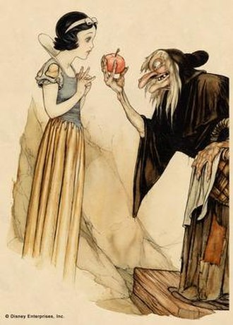 Evil Queen (Disney) - The Witch (right) offering a poisoned apple to Snow White in Gustaf Tenggren's inspirational art for the film