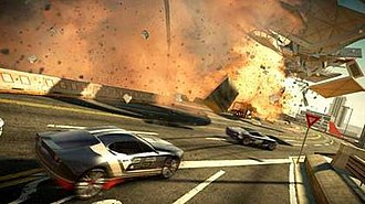 Split/Second - Target-rendered screenshot showing cars driving past an exploding airport.