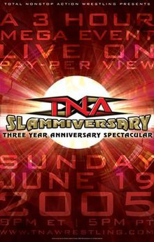 "A poster with a gold logo saying ""Slammiversary"" and a red backdrop"